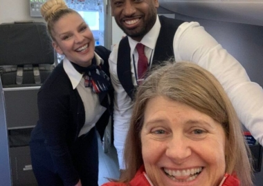 Pardo (front), Jessica (left) and Dion (right) pose for a selfie aboard the plane. (Photo: Sherly Pardo)