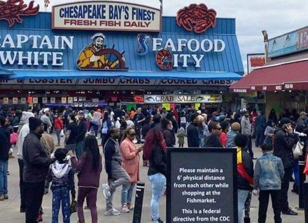 Crowds at the Municipal Fish Market at the Wharf on Saturday not practicing social distancing and many not wearing masks. (Photo: KedaKakeWalk/Twitter)