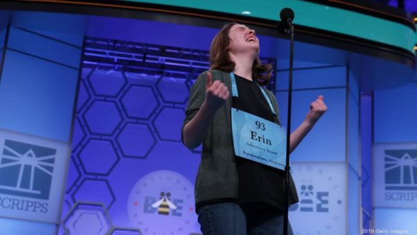 Erin Howard of Huntsville, Alabama, one of eight winners of this year's Scripps National Spelling Bee, celebrates after 20 rounds of competition. (Photo: Alex Wong/Getty Images)