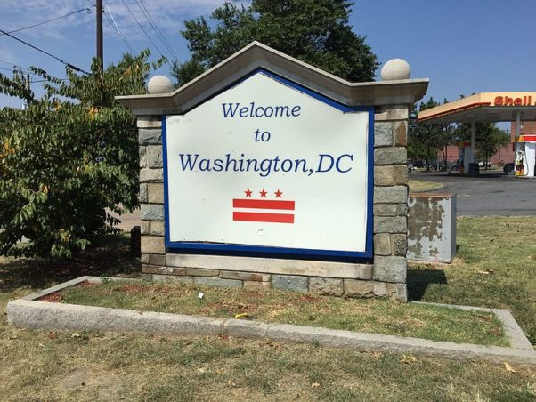 """""""Welcome to Washington D.C."""" sign at the north end of Maryland State Route 210 (Indian Head Highway) and the south end of South Capitol Street, entering Washington, D.C. from Glassmanor, Prince Georges County, Maryland (Photo: famartin/Wikimedia Commons)"""