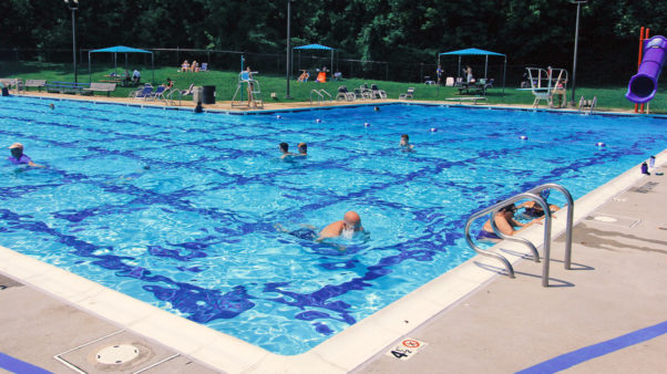 People swimming and sunning at the Bethesda Outdoor Pool. (Photo: Montgomery County Recreation)