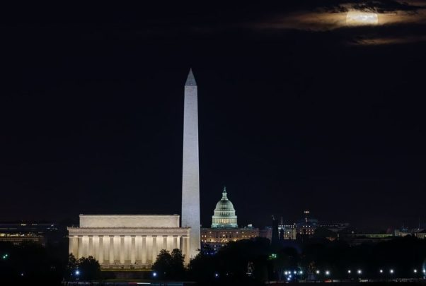 The D.C. skyline at night with the Lincoln Memorial, Washington Monument and Capitol dome lit up. (Photo: Dave Lyons/Instagram)