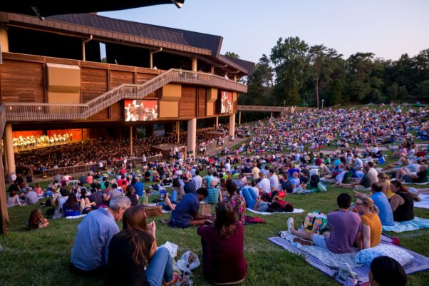 A crowd sitting on the lawn of the Filene Center at Wolf Trap watching a performance. (Photo: Wolf Trap)