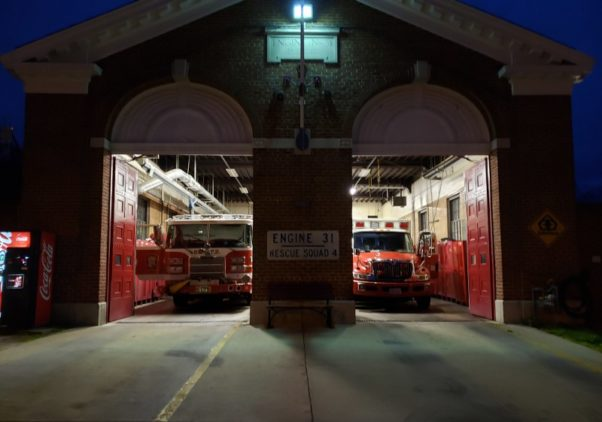 A fire truck and ambulance inside the bays at Engine 31. (Photo: Forest Hills Connection)