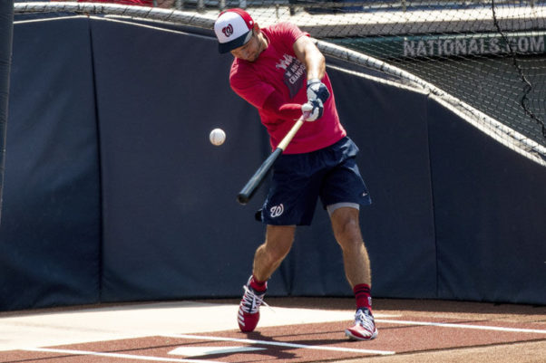 Washington Nationals shortstop Trea Turner takes batting practice as the Washington Nationals hold their first summer camp work out at Nationals Park on Friday. (Photo: Andrew Harnik/AP)
