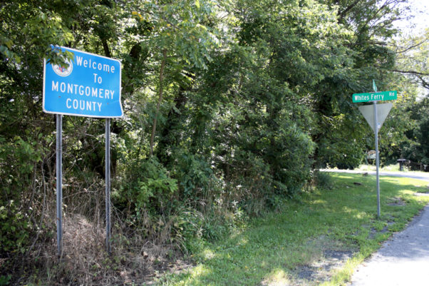 "A ""Welcome to Montgomery County Sign near Whites Ferry Road. (Photo: D.S. Rotenstein)"