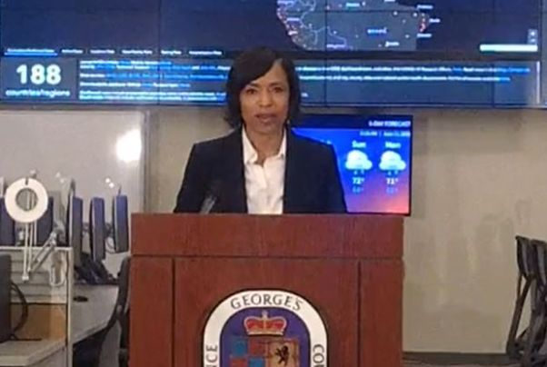 Prince George's County Executive Angela Alsobrooks stands at a podium during a press conference on June 11, 2020.  (Photo: Screen Capture)
