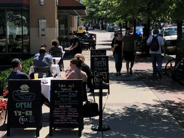 Diners take advantage of a mild summer day and the further opening of business at Circa in Clarendon on June 12, 2020, as the region moved into Phase II of reopening. (Photo: Jahi Chikwendiu/The Washington Post via Getty Images)