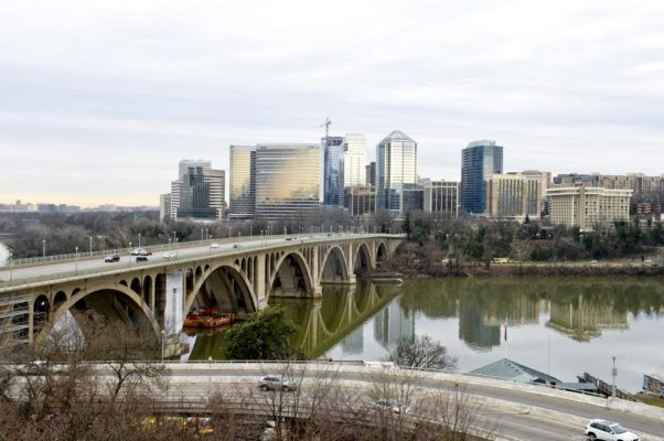The Rosslyn skyline from Georgetown with the Key Bridge from November 2017. (Photo: Joanne S. Lawton)