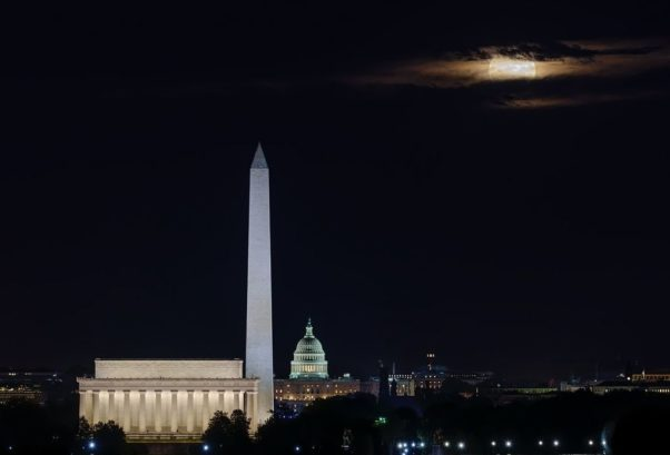 The city skyline at night showing the Lincoln Memorial, Washington Monument and Capitol dome. (Photo: Dave Lyon/Instagram)