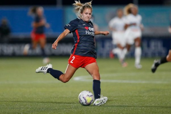 Washington Spirit forward Ashley Sanchez (2) takes a shot against the Chicago Red Stars during the second half of an NWSL Challenge Cup soccer match at Zions Bank Stadium, Saturday, June 27, 2020, in Herriman, Utah. (Photo: Rick Bowmer/AP)