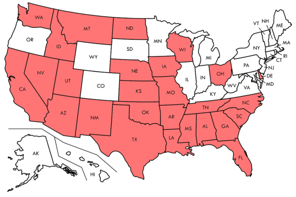 Map of the U.S. with the 27 states D.C. residents must quarentine after visiting colored red.