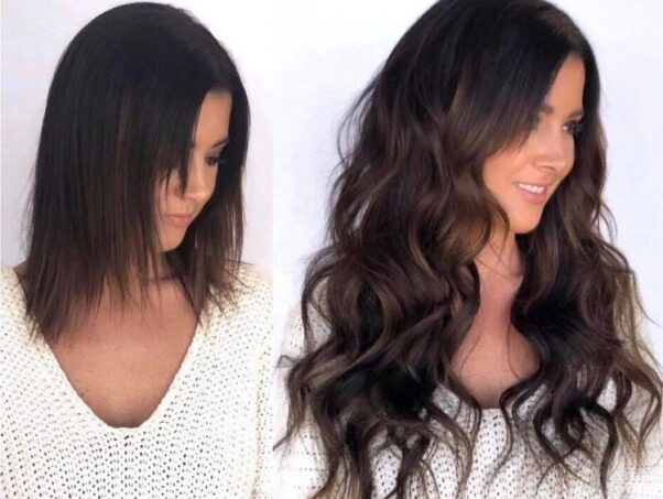 A brunette in before and after photos with hair extensions. (Photo: Lacey Mae)