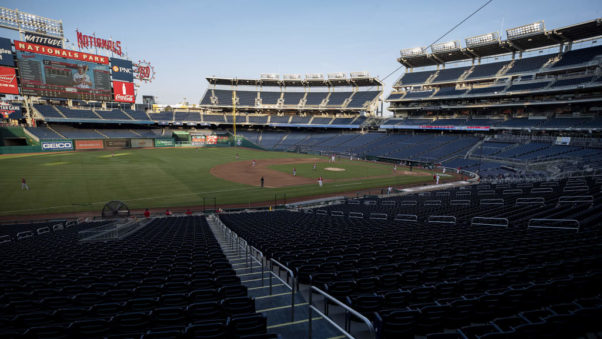 The Nationals playing on the field without fans in the stands. (Photo: MLB)
