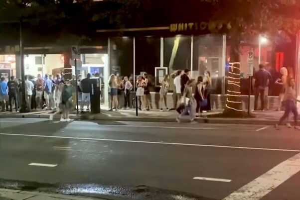 A crowd waits outside Whitlow's on Wilson in Clarendon. (Photo: Tom Lynch/Twitter)