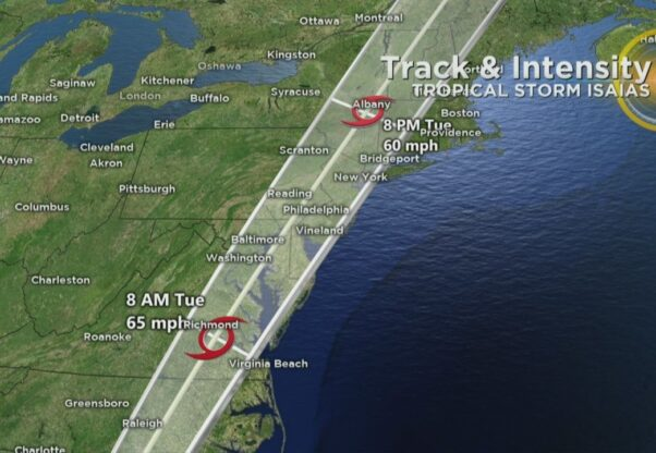 Map of Hurricane Isaias' track up the East Coast. (Photo: WJZ)