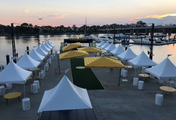 Cabanas set up on Transit Pier at The Wharf to watch outdoor movies. (Photo: The Wharf)