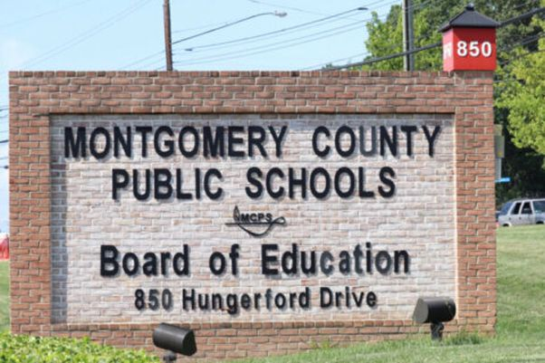 Sign at the Montgomery County Public Schools Board of Education office. (Photo: WTOP)