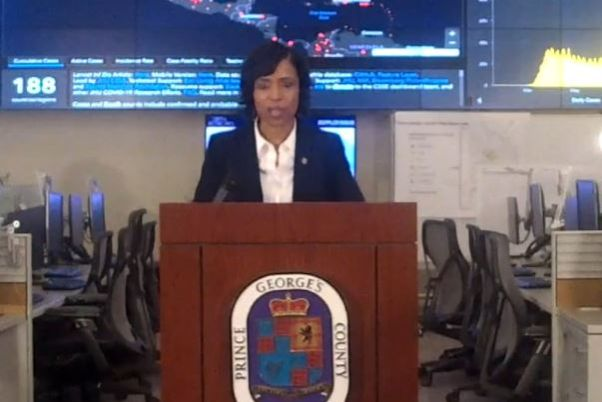 Prince George's County Executive Angela Alsobrooks stands behind a podium during a press conference on Oct. 8, 2020. (Photo: Screencapture)