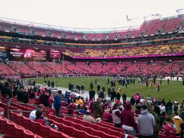 Fans sitting in the seats at FedEx Field watching a Redskins game. (Photo: Frank/A View from My Seat)