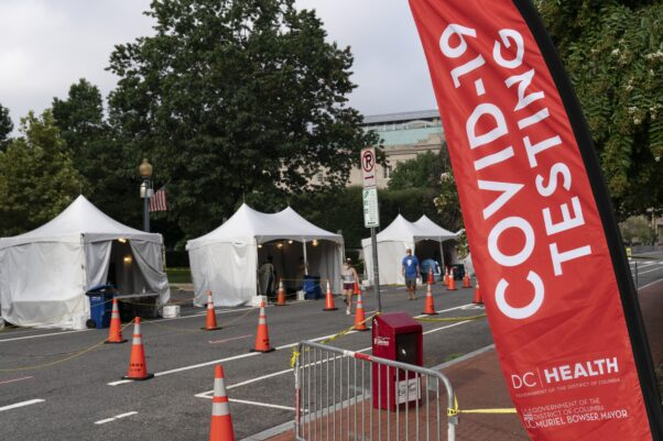 Tents set up at Judiciary Square for COVID-19 testing. (Photo: Alex Brandon/AP)