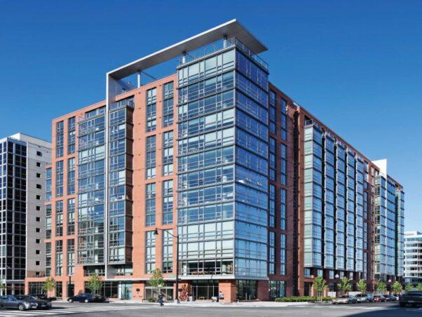 Exterior of Park Riverside apartments, 1011 First St. SE. (Photo: RENTCafe)