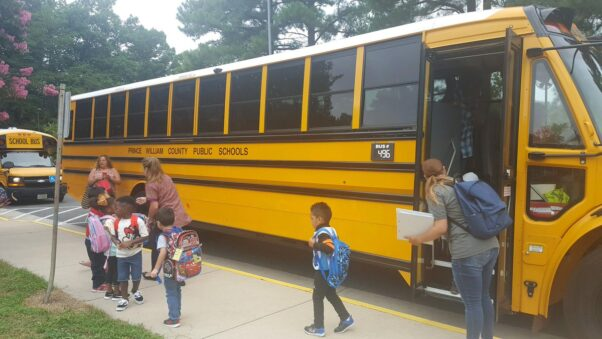 Preschool students get off a Prince William County Public Schools bus. (Photo: Prince William County Public Schools)