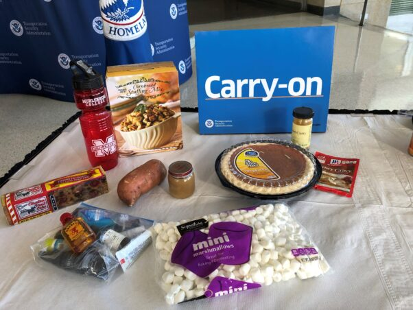 Food items that you can pack in your carry-on luggage including a pumpkin pie, stuffing mix, a yam, fruitcake, gravy mix and mini marshmallows. (Photo: Transportation Security Administration)