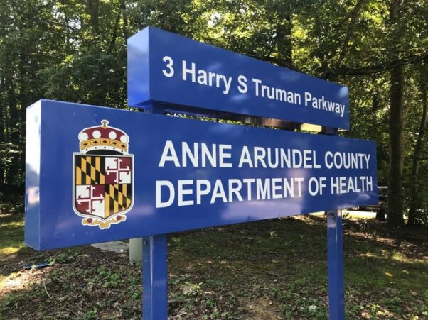 The sign outside the Anne Arundel County Department of Health. (Photo: Jacob Baumgart)