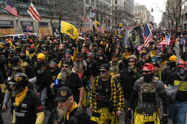 Trump supporters, including members of the Proud Boys, demonstrate in D.C. on Dec. 12, 2020. (Photo: Getty Images)