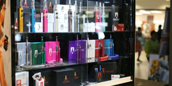 Display case of Volcano eCigs products. (Photo: Volcano eCigs)