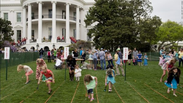 Children participate in the White House Easter Egg Roll on April 17, 2019 on the White House lawn. (Photo: Saul Loeb/AFP/Getty Images)