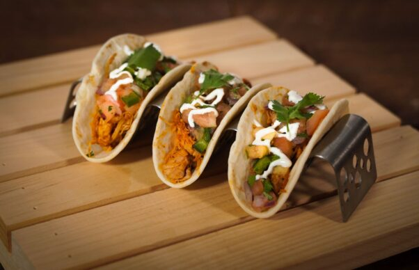 Three tacos in a stand from Taqueria del Barrio (Photo: Washington Nationals)