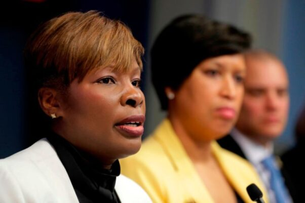 Dr. LaQuandra S. Nesbitt, Director, D.C. Health, left, speaks as Mayor Muriel Bowser, center, and Christopher Rodriguez, director of the D.C. Homeland Security and Emergency Management Services, right, listen during a news conference on March 3, 2020. (Photo: Luis M. Alvarez/AP)