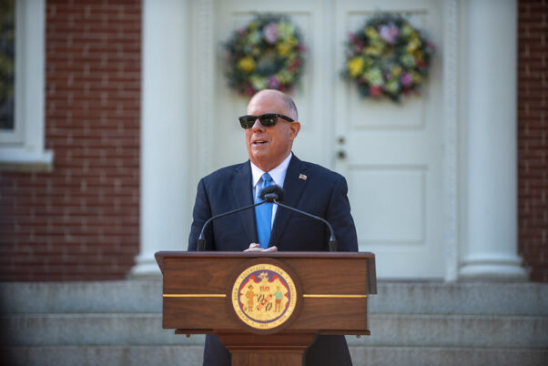 Gov. Larry Hogan speaks at a press conference on May 13, 2021 outside the statehouse in Annapolis. (Photo; MarylandGovPics/Flickr)