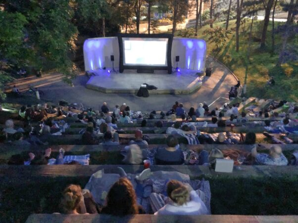 Viewer watch a movie at the UDC amphitheater during Van Ness Main Street's Movies in the Park. (Photo: Van Ness Main Street)