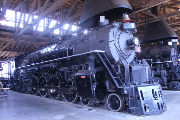 A 1942 Grand Truck Western 4-8-4 No. 6325 sitting in the roundhouse at the Age of Steam Roundhouse Museum. (Photo: Mark Heckathorn/DC on Heels)