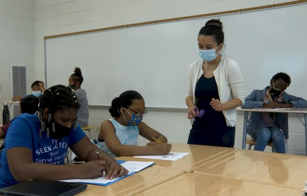 A teacher and students in a classroom wearing masks. (Photo: MCPS)